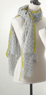 Printed Grey & Green Scarf - Antler Road