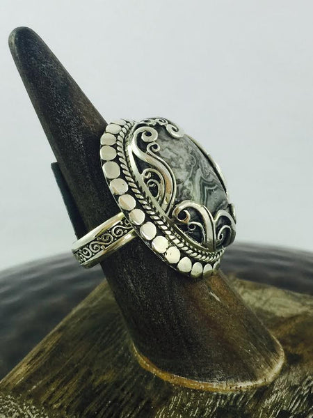 Crazy Lace Agate Ring - Antler Road