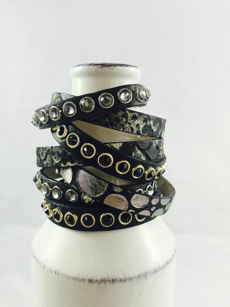 Gold & Black Studded Leather Bracelet (S\M) - Antler Road