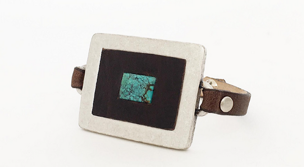 Silver, Turquoise, Leather Mix Bracelet (S) - Antler Road