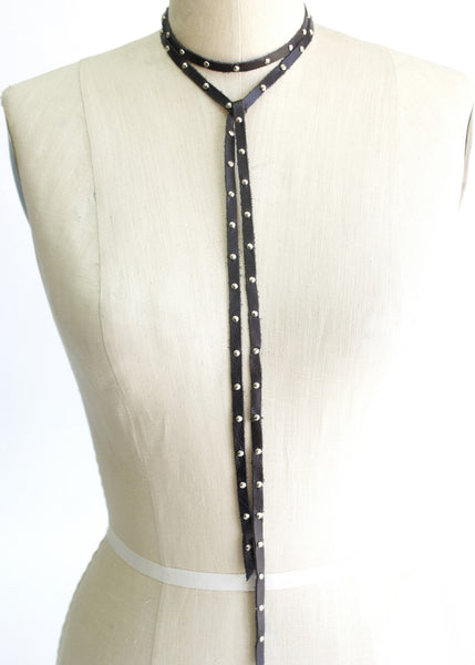 Leather Choker with Silver Studs - Antler Road