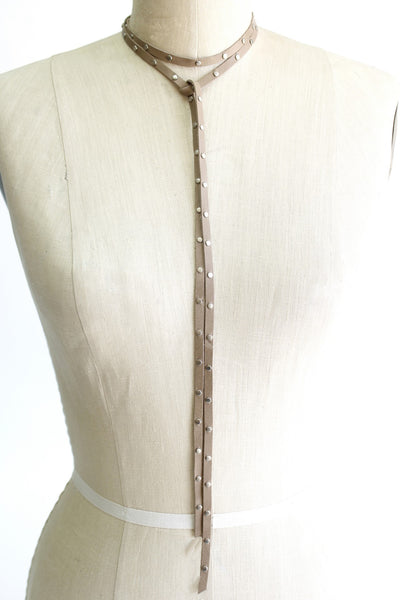 Cream Leather Choker with Silver Studs - Antler Road