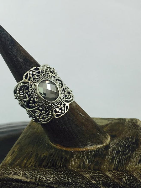 Mystic Topaz Gray Solid Sterling Silver Ring - Antler Road