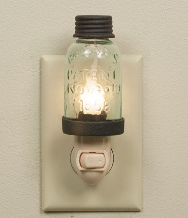 Rustic Brown Mason Jar Night Light - Antler Road
