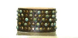 Multi Studded Antique Brass & Patina Leather Bracelet (S/M) - Antler Road