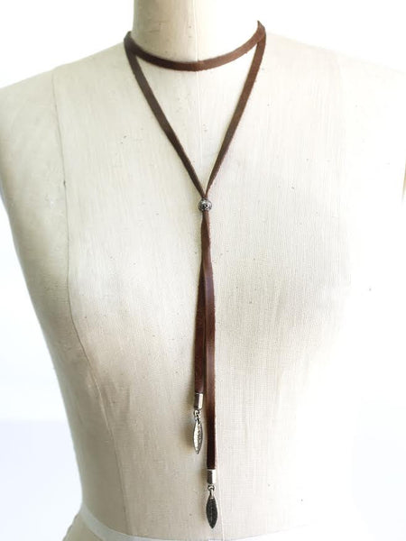 Brown Leather Choker with Feathers - Antler Road