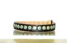 Patina Studded Brown Leather Bracelet (S/M) - Antler Road