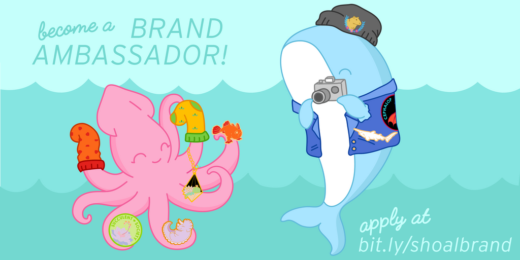 banner image featuring a squid and a whale modeling Shoal products