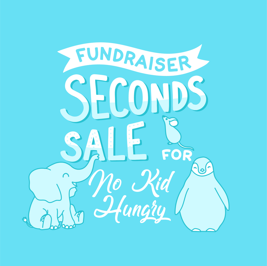 "blue illustration of various animals around text that reads ""fundraiser seconds sale for No Kid Hungry"""