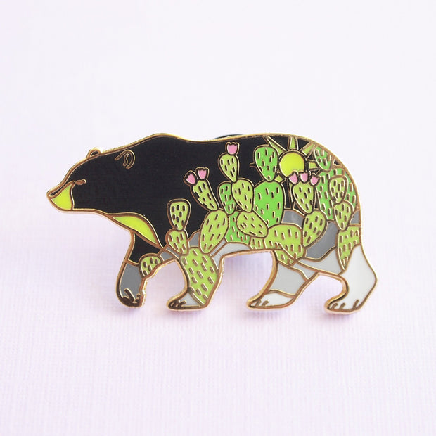 Cactus Black Bear Pin - Oh Plesiosaur