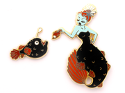 Anglerfish Mermaid Pin Set - Red - Oh Plesiosaur