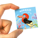 Red Mermaid Pin - Oh Plesiosaur