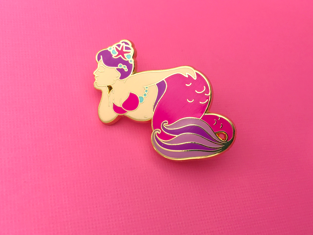 Pink Body Positive Mermaid Pin - Oh Plesiosaur