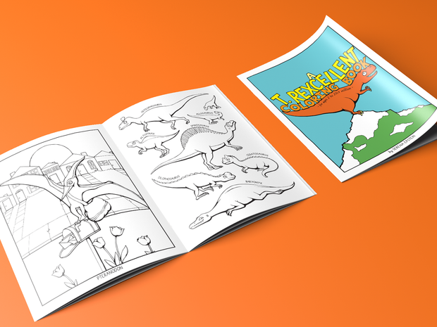 A T. Rexcellent Coloring Book - Mini Version - Oh Plesiosaur