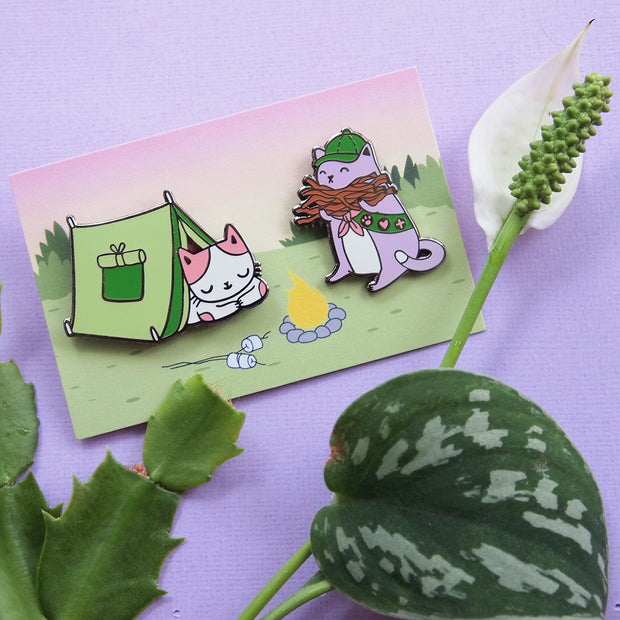 Summer Camp Cats Pin Set - Oh Plesiosaur