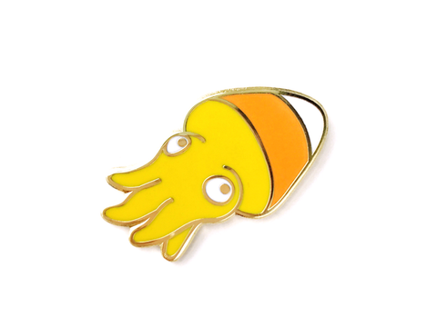 Candy Corn Squid Pin