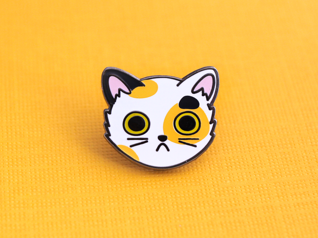 Calico Cat Face Pin - Oh Plesiosaur