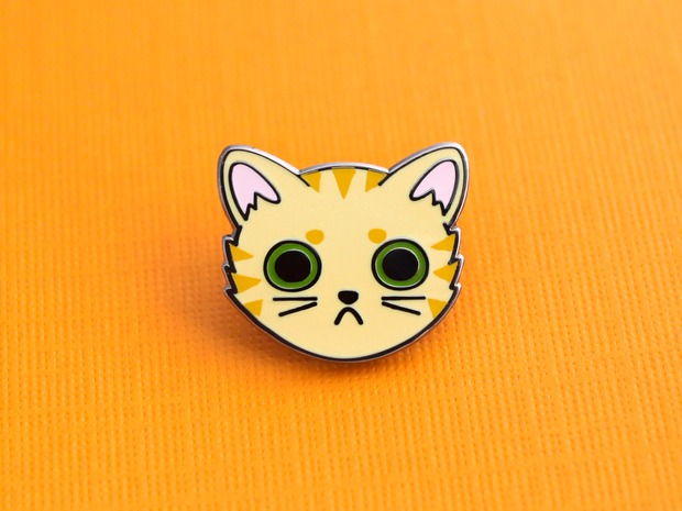 Orange Tabby Cat Face Pin - Oh Plesiosaur