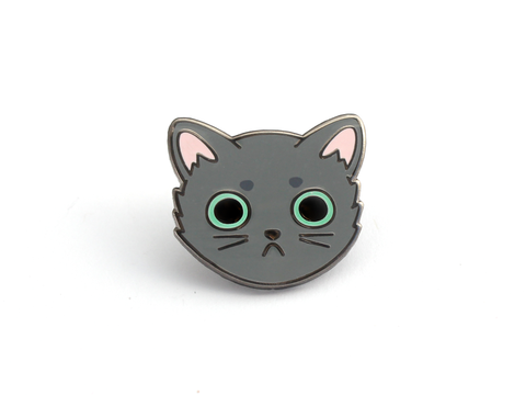 Gray Cat Face Pin - Oh Plesiosaur