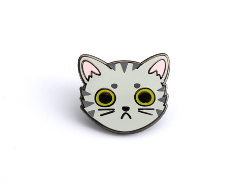 Gray Tabby Cat Face Pin - Oh Plesiosaur
