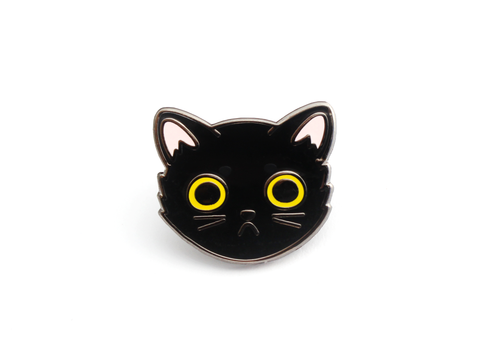 Black Cat Face Enamel Pin