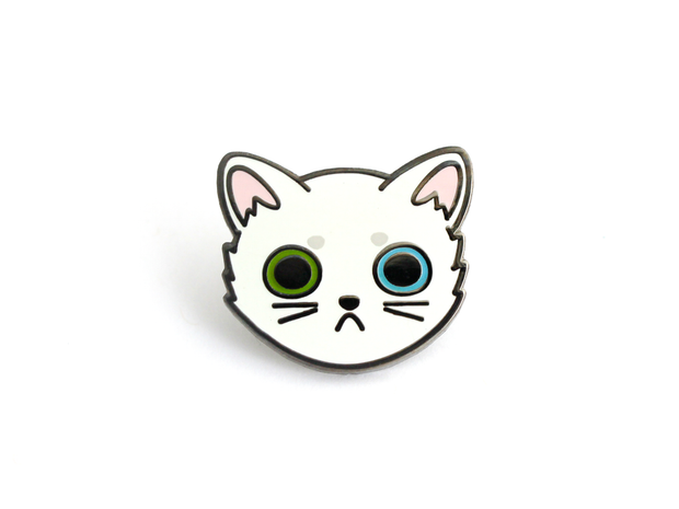 White Cat Face Pin - Oh Plesiosaur