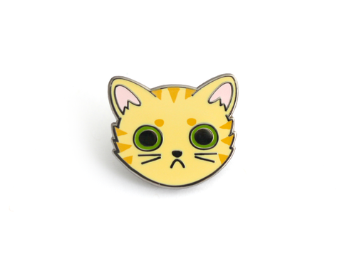 Orange Tabby Cat Face Enamel Pin