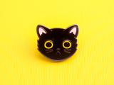 Seconds Sale - Black Cat Face Pin - Oh Plesiosaur