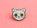 Seconds Sale - Gray Tabby Cat Face Pin - Oh Plesiosaur