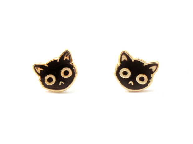 Black Cat Face Earrings - Oh Plesiosaur