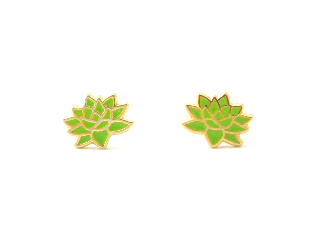Green Succulent Earrings - Oh Plesiosaur