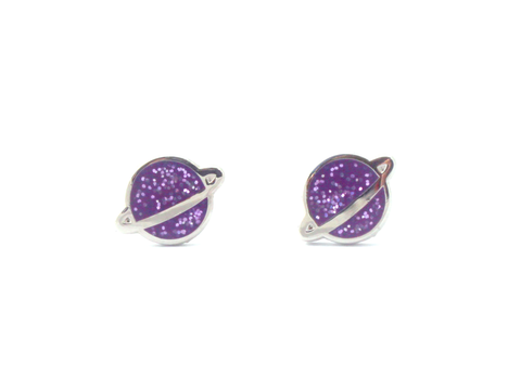 Purple Planet Earrings - Oh Plesiosaur