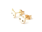 White Cat Face Earrings - Oh Plesiosaur