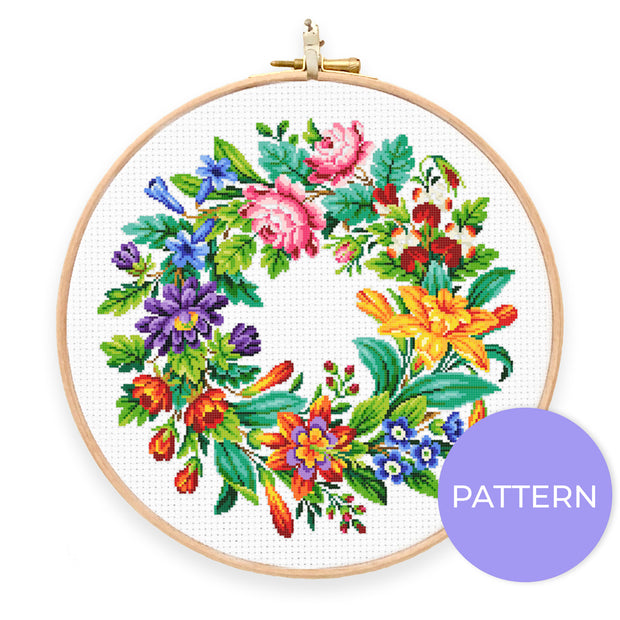 Vintage Floral Wreath Cross Stitch Pattern - Oh Plesiosaur
