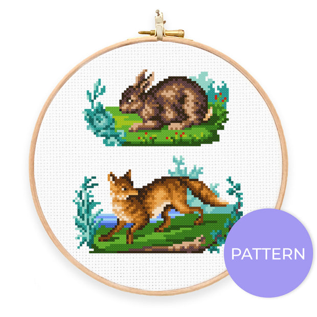 Vintage Fox & Rabbit Cross Stitch Pattern - Oh Plesiosaur