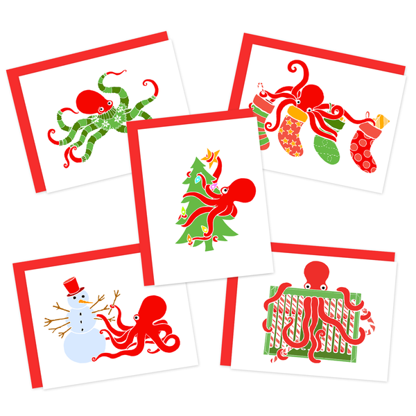 Octopus Holiday Cards