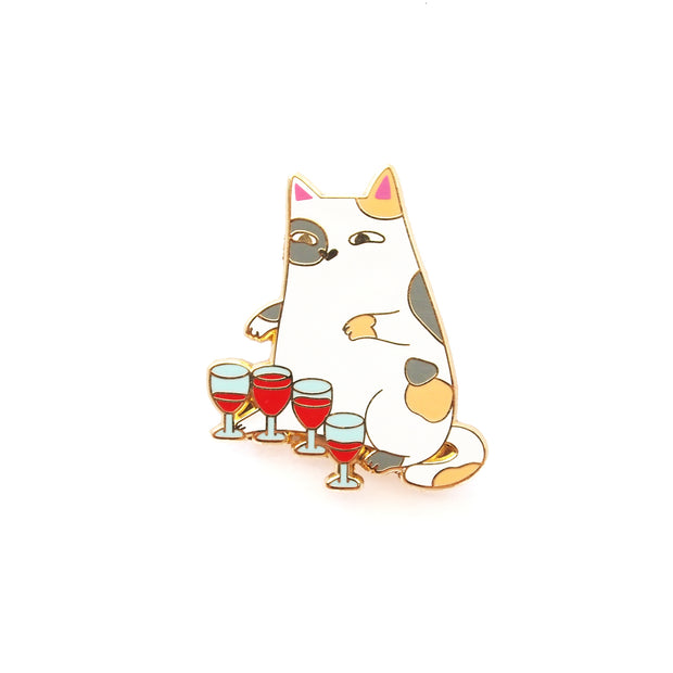 Wine Glass-playing Cat Pin - Oh Plesiosaur