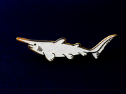 Seconds Sale - Goblin Shark Pin (White Glitter) - Oh Plesiosaur