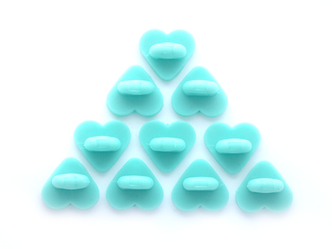 Aqua Heart Rubber Pin Backs (Set of 10)