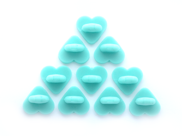 Aqua Heart Rubber Pin Backs (Set of 10) - Oh Plesiosaur