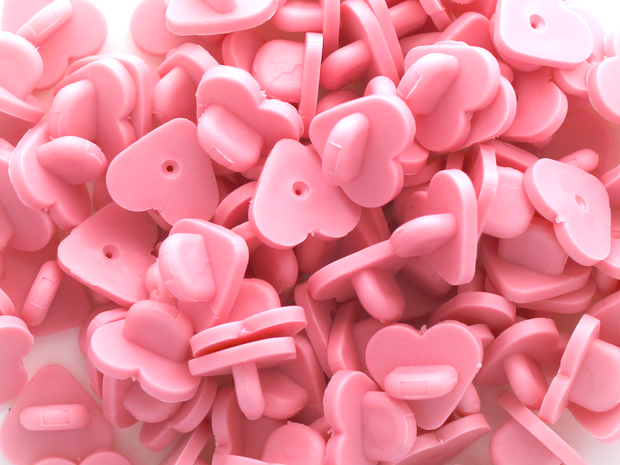 Pink Heart Rubber Pin Backs (Set of 10) - Oh Plesiosaur