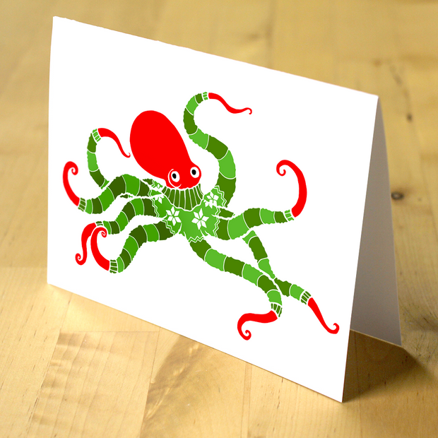 Octopus Holiday Cards - Oh Plesiosaur