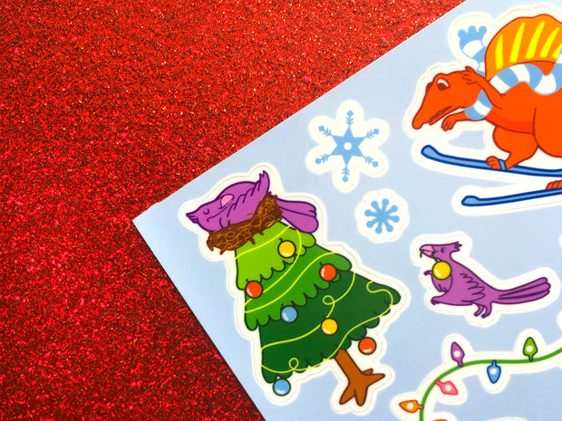 Dinosaur Holiday Stickers - Oh Plesiosaur