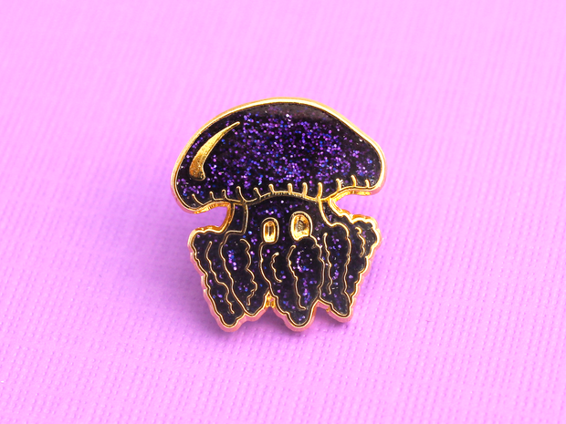 Purple Glitter Jellyfish Pin - Oh Plesiosaur