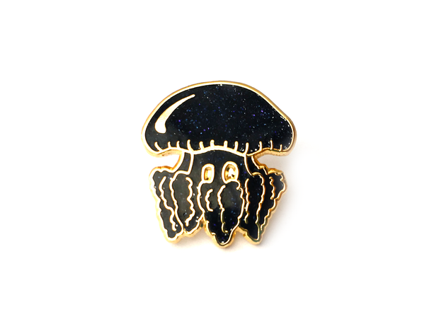 Midnight Blue Glitter Jellyfish Pin - Oh Plesiosaur