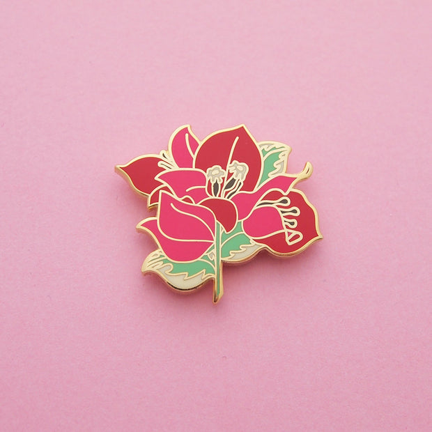 Red Bougainvillea Pin - Oh Plesiosaur