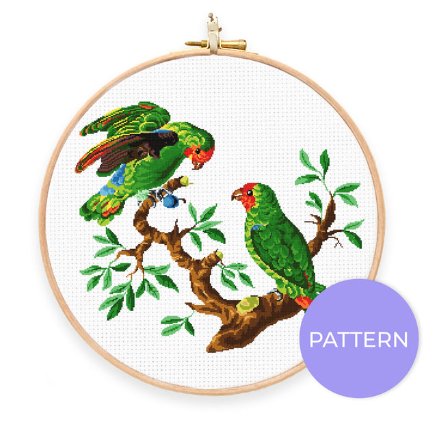 Vintage Lovebirds Cross Stitch Pattern - Oh Plesiosaur