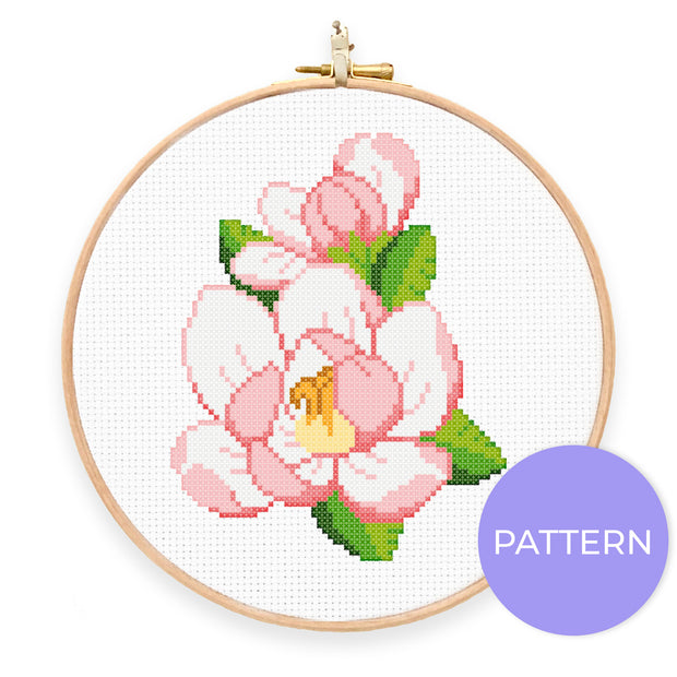 Magnolia Cross Stitch Pattern - Oh Plesiosaur