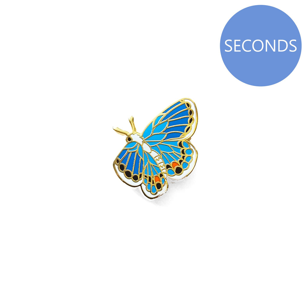 Seconds Sale - Miami Blue Butterfly Pin (showing blue wings) - Oh Plesiosaur