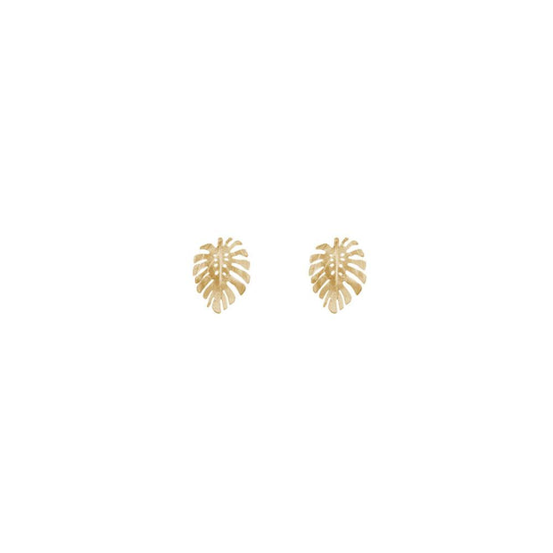 Gold Monstera Studs